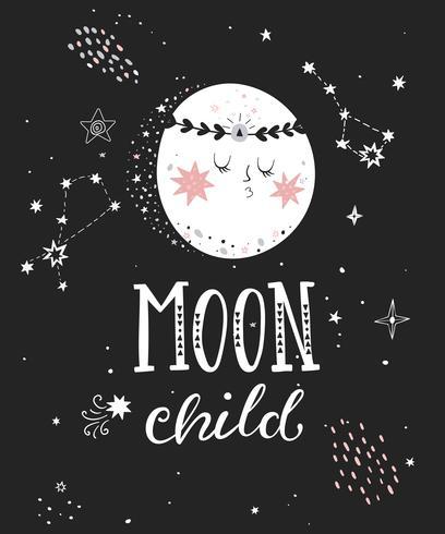 Manifesto bambino luna con la luna piena.