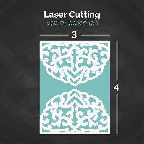 Tarjeta de corte laser. Plantilla Para Cortar. Ilustración de recorte