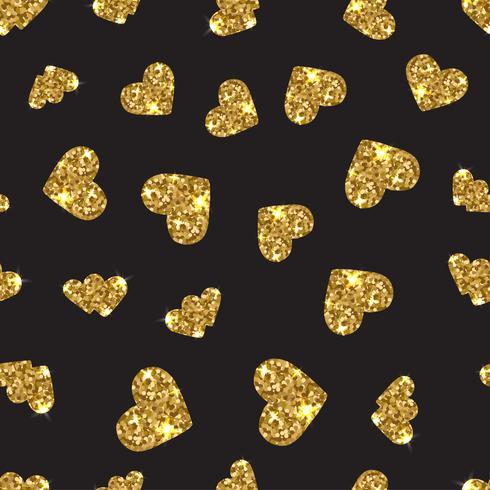 Modello senza cuciture del cuore scintillante dell'oro. Sfondo a righe orizzontali.
