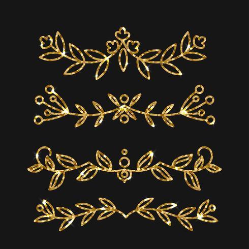 Set divisores. Vector de oro adornado diseño. Florituras doradas.