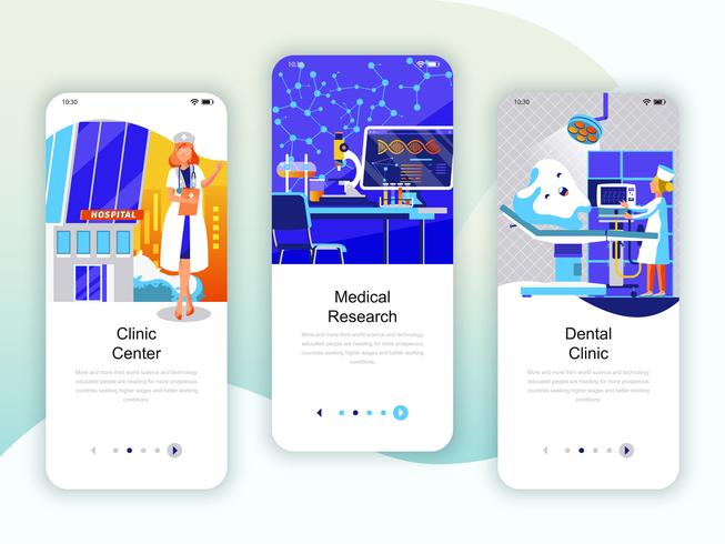 Set of onboarding screens user interface kit for Medicine, Research
