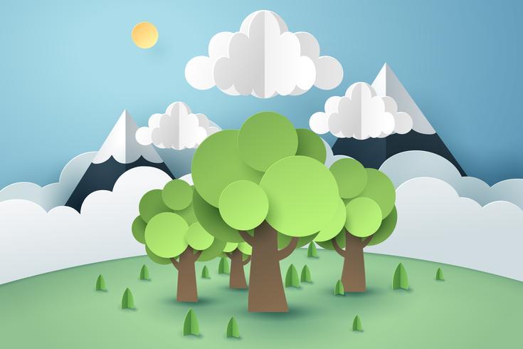 Floresta e nuvem, conceito de arte de papel e idéia sustentável ambiente sustentável do mundo
