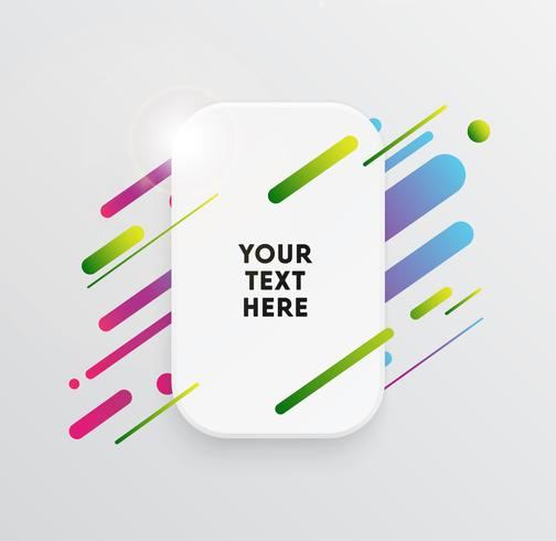 Vector el fondo con la tarjeta de papel y las formas coloridas abstractas. Las líneas de neón de moda y el papel tapiz de los círculos en un moderno estilo de diseño de materiales.