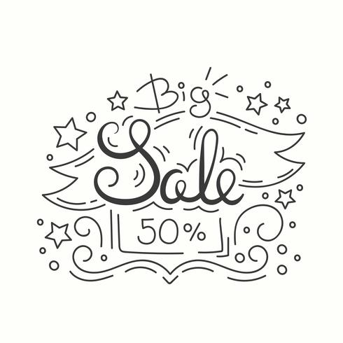 Line Style Sale Banner. Isolated Design on White Background.