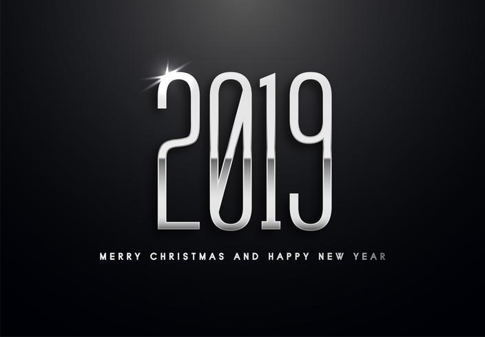 2019 Holiday Vector hälsning illustration med silver nummer.