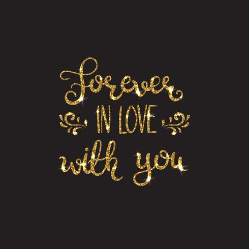 Amor texto Letras románticas con purpurina. Destellos dorados vector