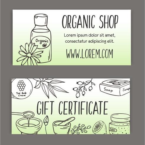 Folleto con botellas de cosméticos. Ilustración de cosméticos orgánicos. vector