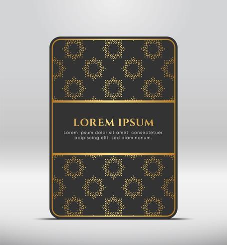 Look premium élégant. Forme de carte gris foncé avec motif doré. Illustration vectorielle