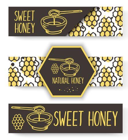 Banners de mel orgânico de vetor. Conjunto de mão desenhada bio.