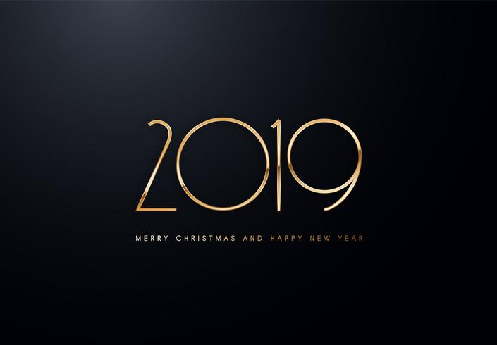 Illustrazione di saluto di vettore di festa 2019 con i numeri dorati.