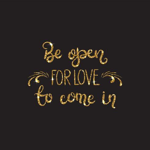 Hou van tekst Romantische letters met glitter. Gouden schittert