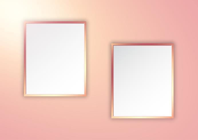 Cornici in oro rosa su muro illuminato