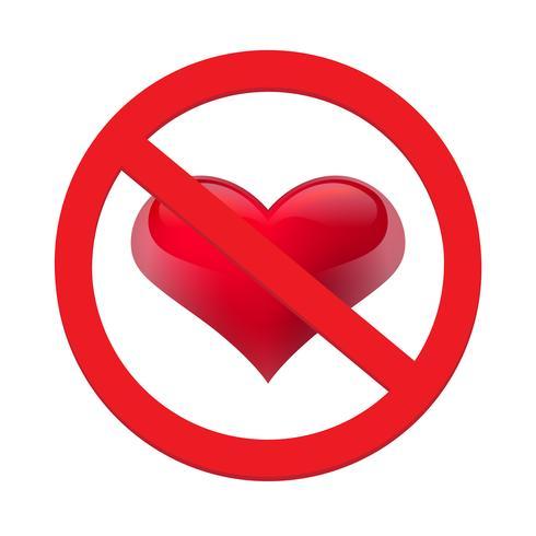 Divieto di amare il cuore. Simbolo di proibito e fermare l'amore