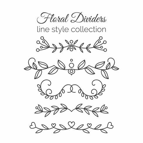 Floresce. Conjunto de divisores de mão desenhada. Decoração de estilo de linha.