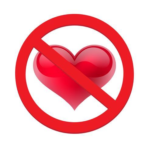 Ban love heart. Symbol of forbidden and stop love vector