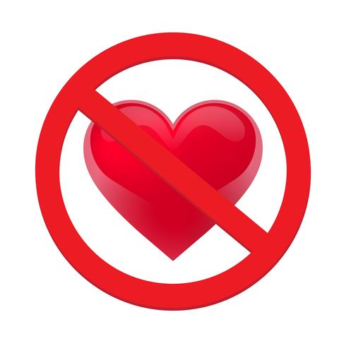 Ban love heart. Symbol of forbidden and stop love vector