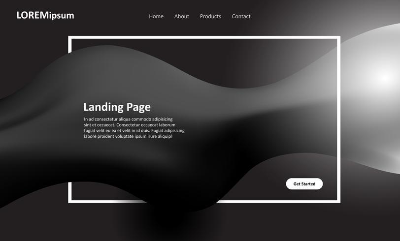 Design della pagina di destinazione del sito Web in bianco e nero