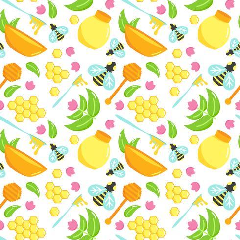 Padrão sem emenda com conjunto de ilustração de mel. Desenho vetorial de abelha. Elementos orgânicos naturais. Favo de mel dos desenhos animados. Coleção de argicultura plana. Colher com hidromel.