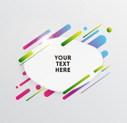Vector il fondo con la carta di carta e le forme variopinte astratte. Carta da parati alla moda con linee e cerchi al neon in uno stile di design moderno.