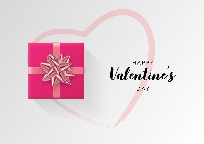 Valentijnsdag vector achtergrond. Kleurrijke verpakte geschenkdoos met lint.