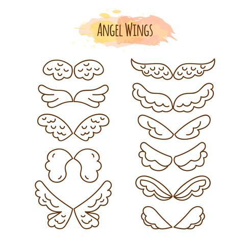 Alas de ángel en estilo de línea.