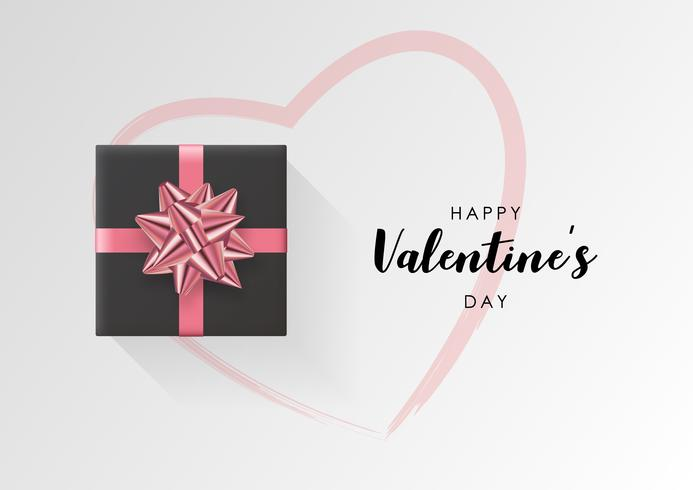Fond de vecteur Saint Valentin. Coffret cadeau emballé coloré avec ruban.