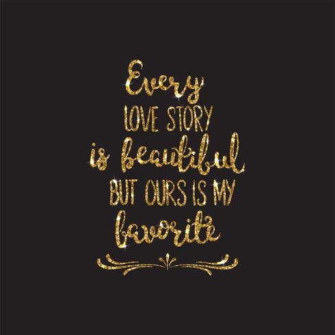 Love text. Romantic lettering with glitter. Golden sparkles