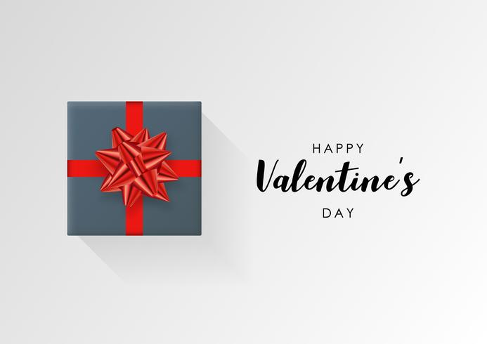 Valentines day vector background. Colorful wrapped gift box with ribbon.