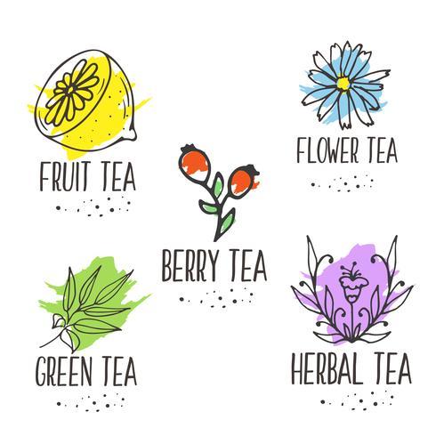 Kruidenthee logo elementen collectie. Organische kruiden en wilde bloemen.
