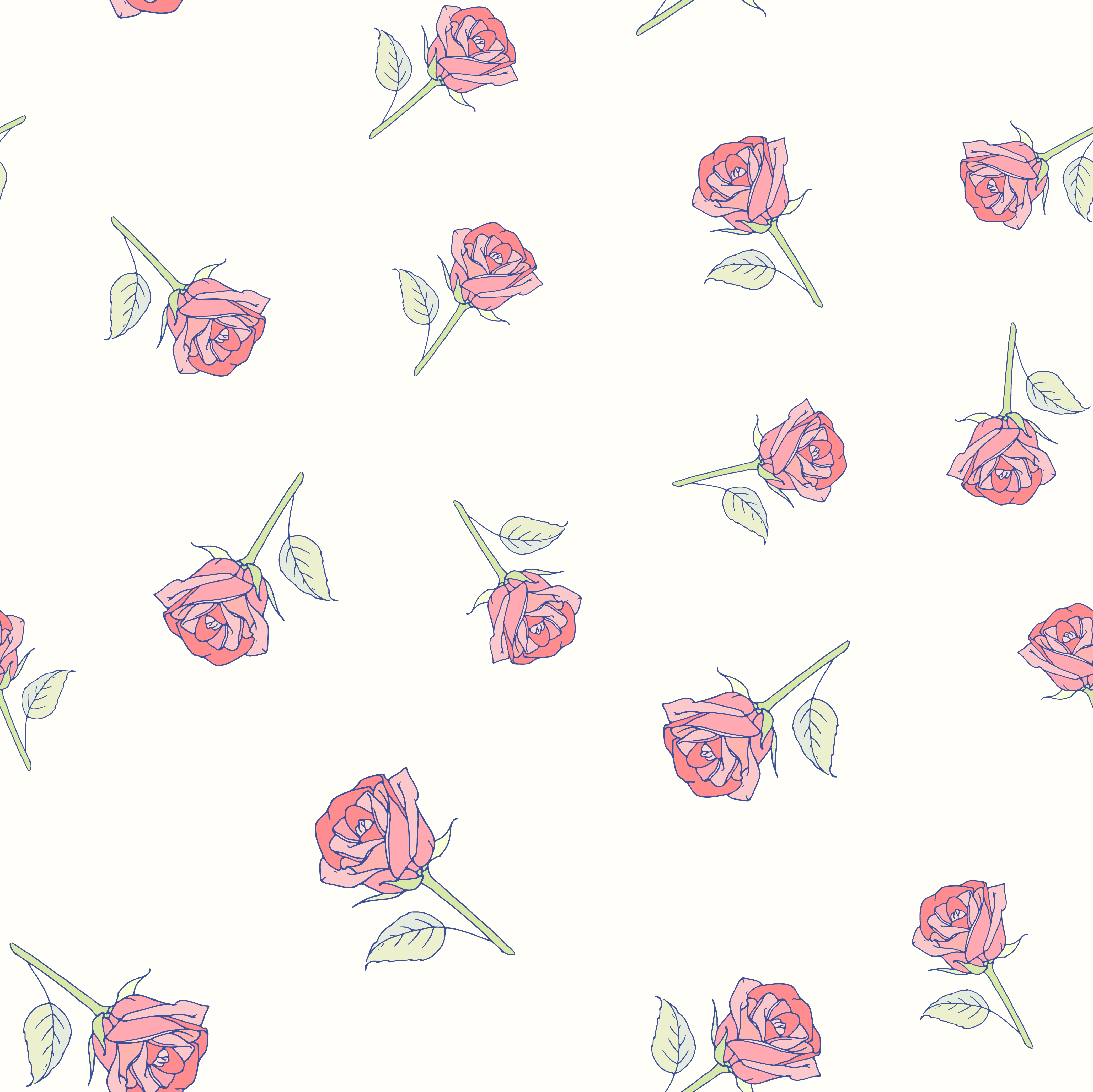 Hand Drawn Roses Seamless Pattern Download Free Vectors