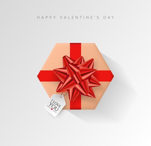 Valentinsdag vektor bakgrund. Färgglatt inslagna presentförpackning med band.