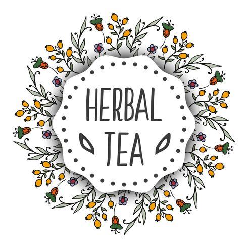 Fondo de etiquetas de té de hierbas. Marco redondo con hierbas