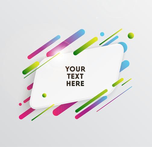 Vektor bakgrund med papper kort och abstrakta färgglada former. Trendiga neonlinjer och cirklar tapeter i en modern materialdesign stil.