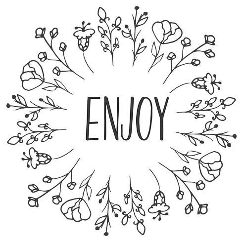 Telaio a base di erbe Enjoy. Erbe biologiche e fiori selvatici. Illustrazione a mano abbozzato vettore