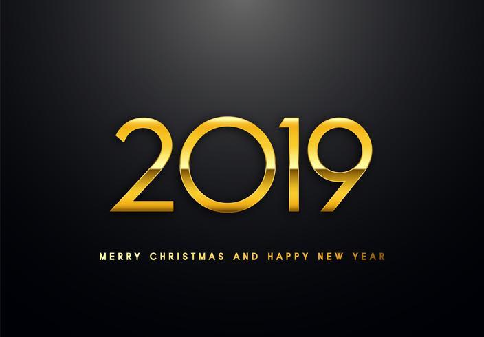 2019 Holiday Vector hälsning illustration med gyllene nummer.