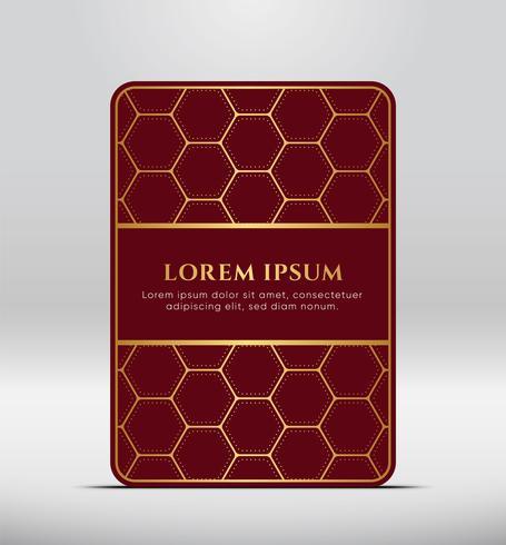 Elegant premiumlook. Mörkgrå kortform med guldmönster. Vektor illustration.