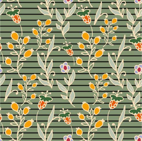Patrón floral sin fisuras Rayas horizontales. Estampado de hierbas y flores silvestres.