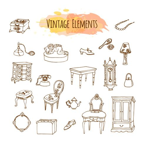 Hand drawn vintage elements. Antique furniture illustration vector