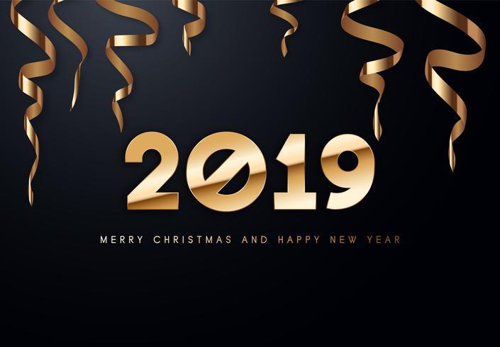 Ilustración del saludo del vector del día de fiesta 2019 con números de oro.