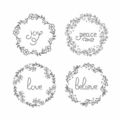 Floral wreath set. Line lettering. Greeting typography. vector