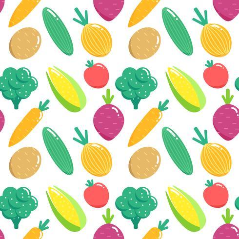 Seamless mönster med grönsaker. Plana veggies vektor illustration.