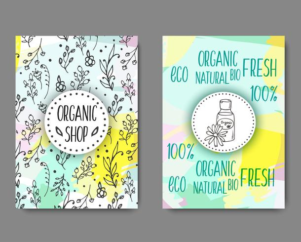 Brochura com frascos de cosméticos. Ilustração de cosméticos orgânicos.