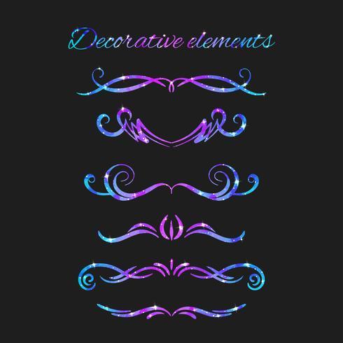 Vector Florece. Set de separadores. Dibujados a mano remolinos decorativos con brillo. Decoraciones caligráficas con destellos. Textura del espacio Efecto de estrellas resplandecientes.