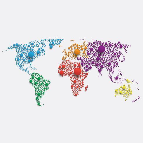 Mapa del mundo blanco hecho por bolas, ilustración vectorial vector