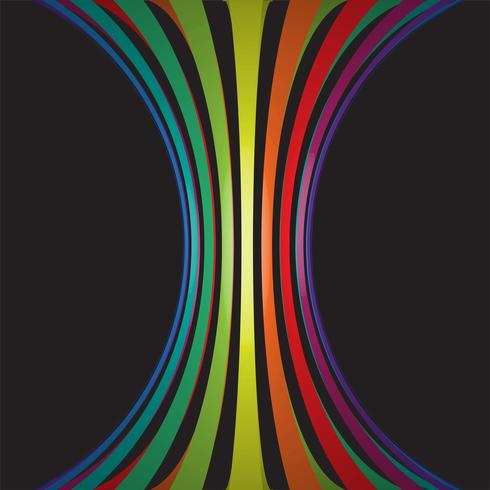 Colorful lines in 3D on black background, vector illustration