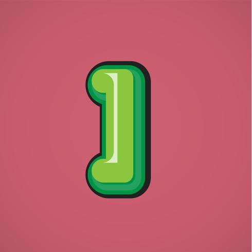 Green comic character from a fontset, vector illustration