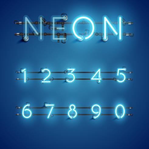 Gul realistisk neon teckenuppsättning med ledningar och konsol, vektor illustration
