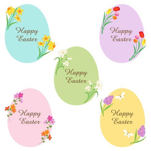 feliz ovos de páscoa com flores vetor