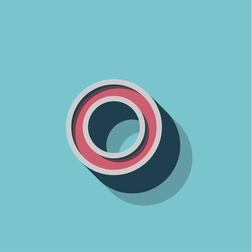 Retro 3D-tecken från ett fontset, vektor illustration