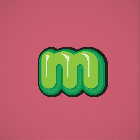 Grön komisk karaktär från en fontset, vektor illustration